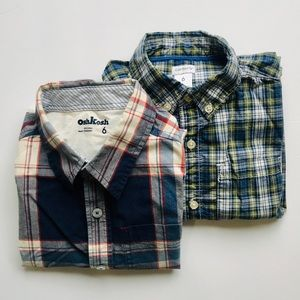 (2) Size 6 Plaid Long Sleeve Button Downs